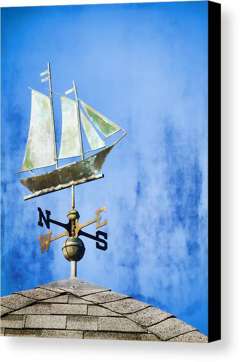 Weathervane Canvas Print featuring the photograph Weathervane Clipper Ship by Carol Leigh