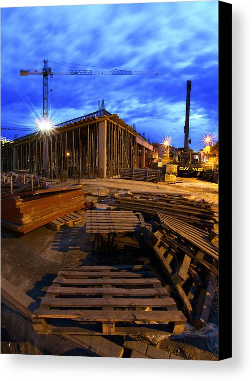 Apartment Canvas Print featuring the photograph Constraction Site At Night by Jaroslaw Grudzinski