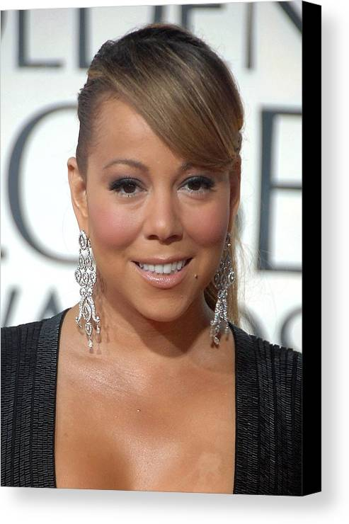 Mariah Carey Canvas Print featuring the photograph Mariah Carey Wearing Chopard Earrings by Everett
