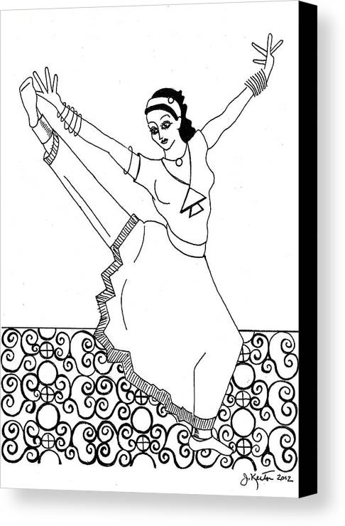 Moroccan Dancer Canvas Print featuring the drawing Moroccan Dancer by John Keaton