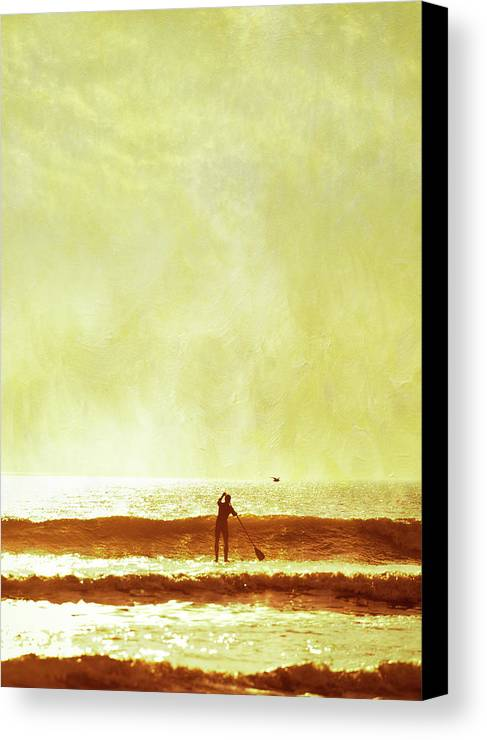 Adult Canvas Print featuring the photograph One Man And His Gull by s0ulsurfing - Jason Swain