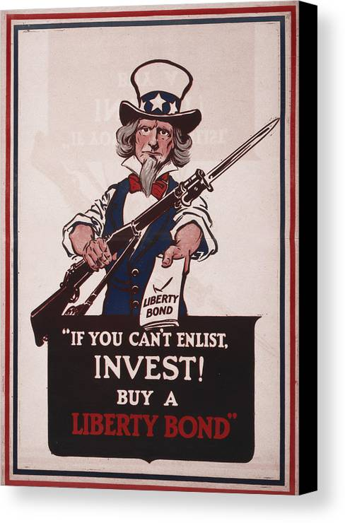 1910s Canvas Print featuring the photograph World War I, Poster Showing Uncle Sam by Everett