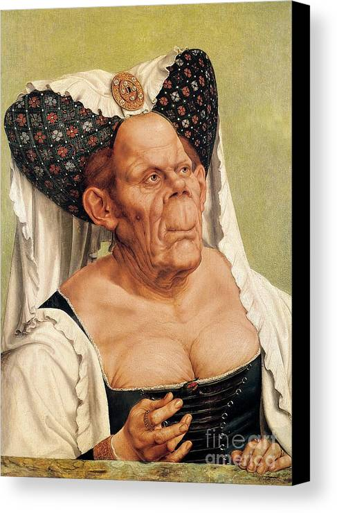 Grotesque Canvas Print featuring the painting A Grotesque Old Woman by Quentin Massys