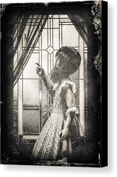 Little Miss Muffet Canvas Print featuring the photograph Along Came A Spider by Bob Orsillo