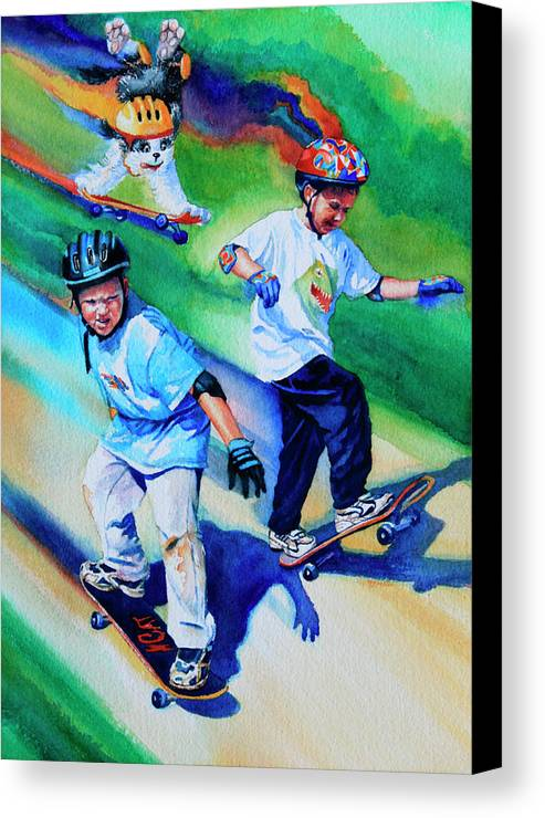 Skateboard Canvas Print featuring the painting Blasting Boarders by Hanne Lore Koehler