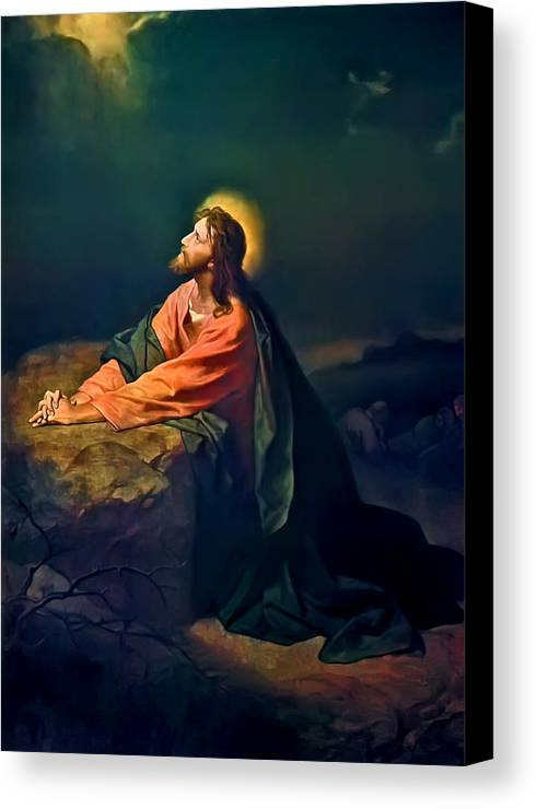 Christ In The Garden Print Canvas Print featuring the painting Christ In Garden Of Gethsemane by Heinrich Hofmann