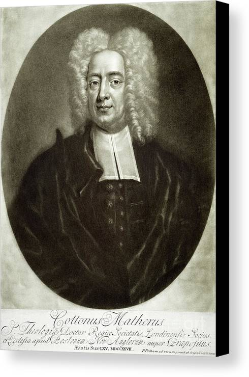 18th Century Canvas Print featuring the drawing Cotton Mather 1663-1728 by Granger