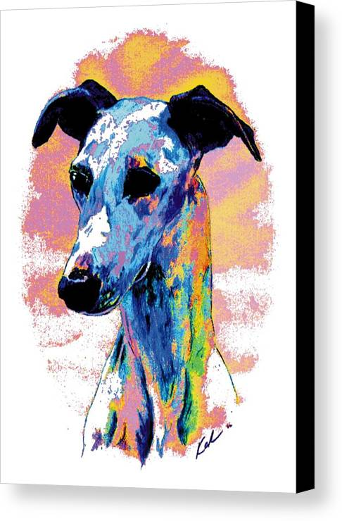 Electric Whippet Canvas Print featuring the digital art Electric Whippet by Kathleen Sepulveda