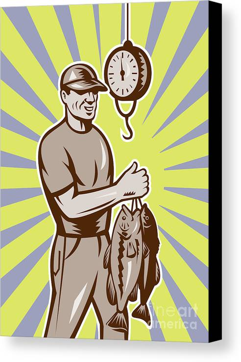 Largemouth Canvas Print featuring the digital art Fly Fisherman Weighing In Fish Catch by Aloysius Patrimonio