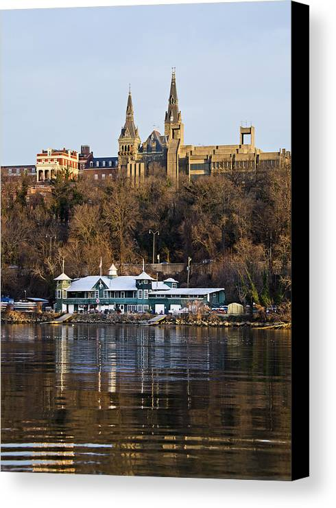 georgetown University Canvas Print featuring the photograph Georgetown University Waterfront by Brendan Reals