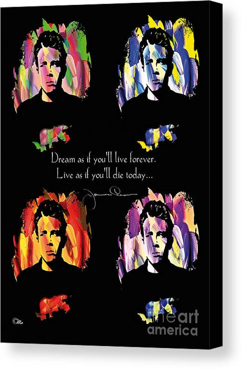 James Dean Canvas Print featuring the digital art James Dean by Mo T