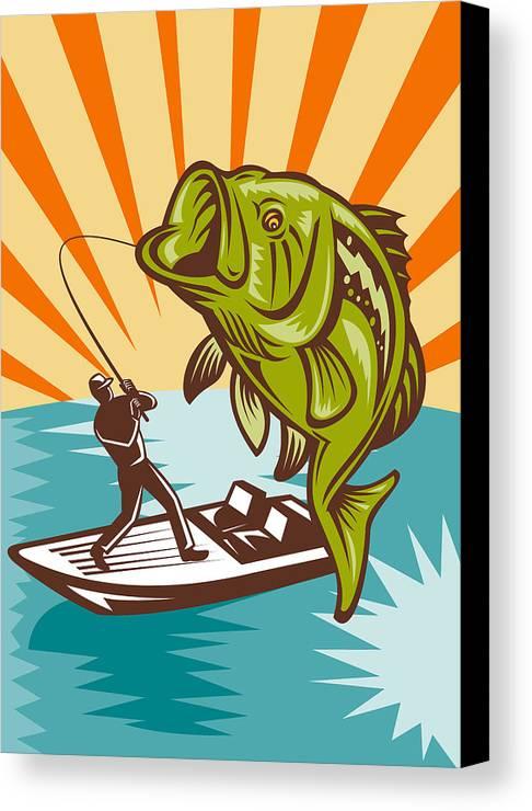 Largemouth Canvas Print featuring the digital art Largemouth Bass Fish And Fly Fisherman by Aloysius Patrimonio