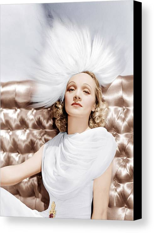 1930s Portraits Canvas Print featuring the photograph Marlene Dietrich, Ca. 1930s by Everett