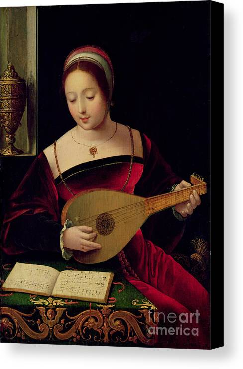 Mary Canvas Print featuring the painting Mary Magdalene Playing The Lute by Master of the Female Half Lengths