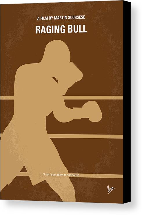 Raging Canvas Print featuring the digital art No174 My Raging Bull Minimal Movie Poster by Chungkong Art