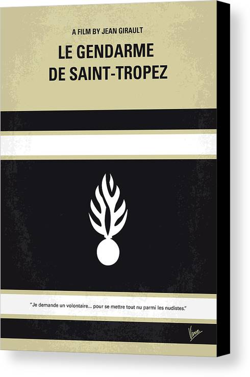 Le Canvas Print featuring the digital art No186 My Le Gendarme De Saint-tropez Minimal Movie Poster by Chungkong Art
