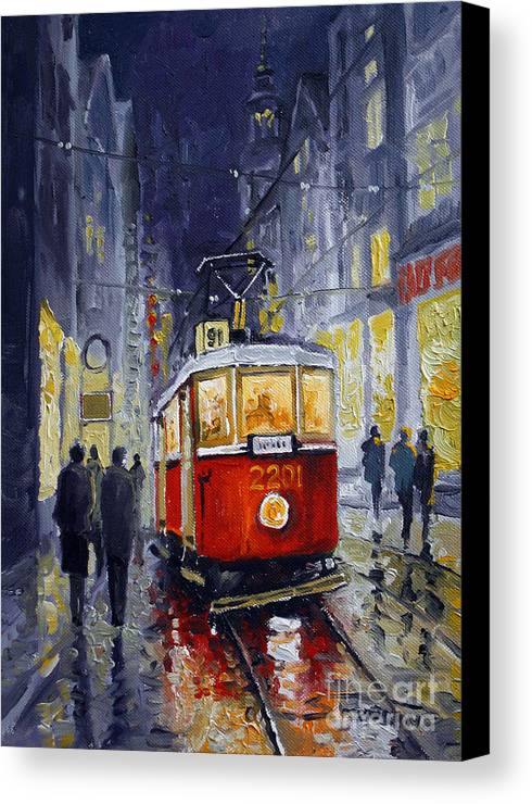 Oil Canvas Print featuring the painting Prague Old Tram 06 by Yuriy Shevchuk
