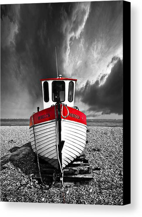 Boat Canvas Print featuring the photograph Rebecca Wearing Just Red by Meirion Matthias
