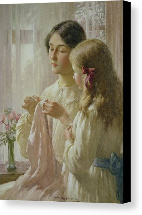 The Canvas Print featuring the painting The Lesson by William Kay Blacklock