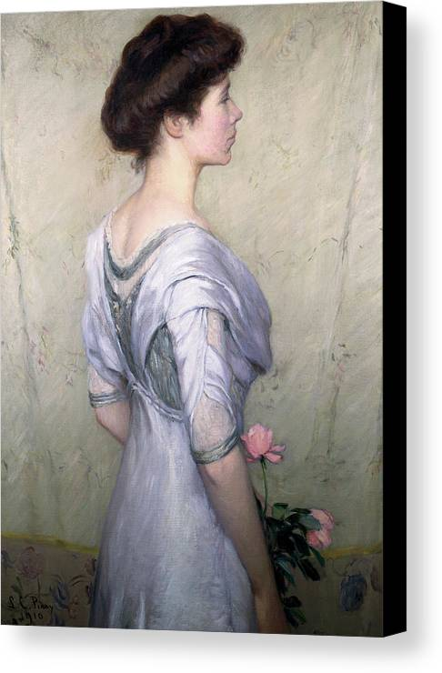 The Pink Rose Canvas Print featuring the painting The Pink Rose by Lilla Cabot Perry