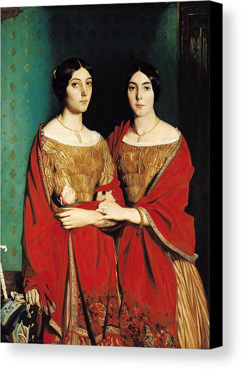 The Canvas Print featuring the painting The Two Sisters by Theodore Chasseriau