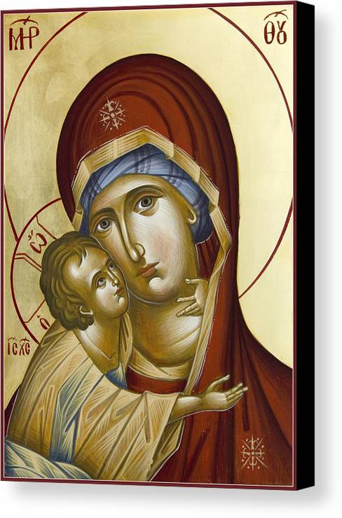 Icon Canvas Print featuring the painting Theotokos by Julia Bridget Hayes