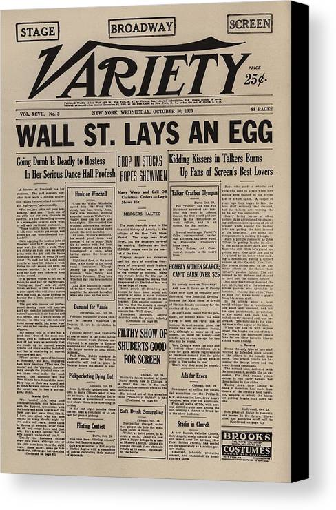 History Canvas Print featuring the photograph Wall Street Lays An Egg. Famous by Everett
