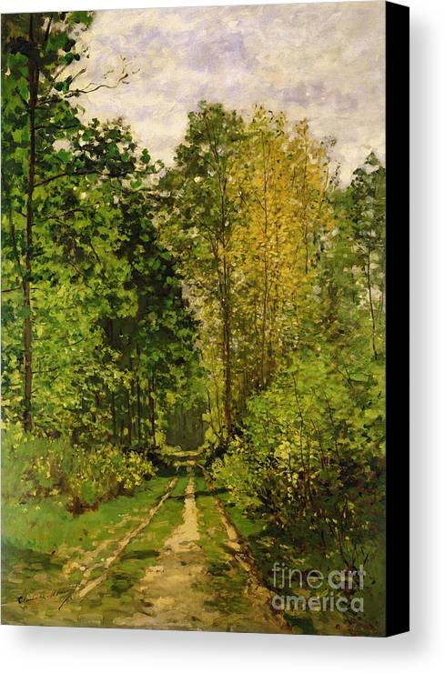 Wooded Path Canvas Print featuring the painting Wooded Path by Claude Monet
