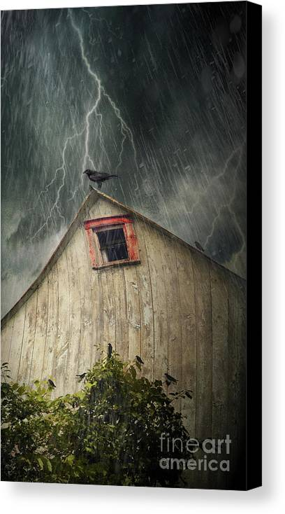 Abandoned Canvas Print featuring the photograph Spooky Old Barn With Crows On A Stormy Night by Sandra Cunningham