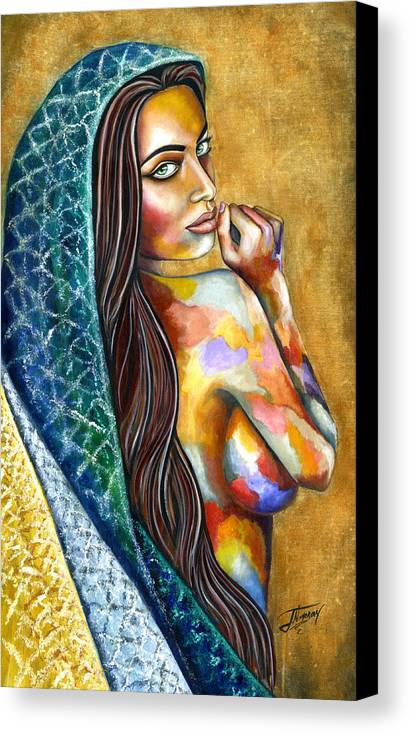 Figure Canvas Print featuring the painting Concubine by Jorge Namerow