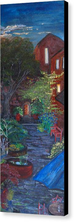 Villa Canvas Print featuring the painting Sunset At The Villa by Dixie Adams
