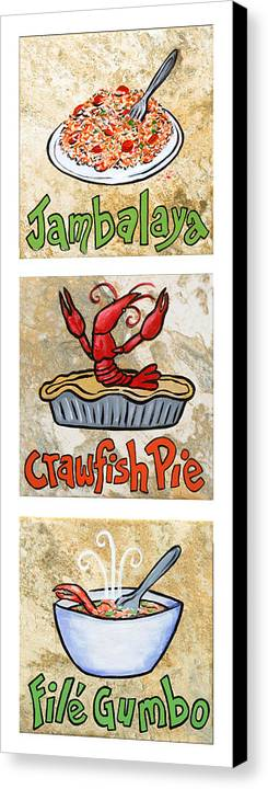 Jambalaya Canvas Print featuring the painting Cajun Trio White by Elaine Hodges
