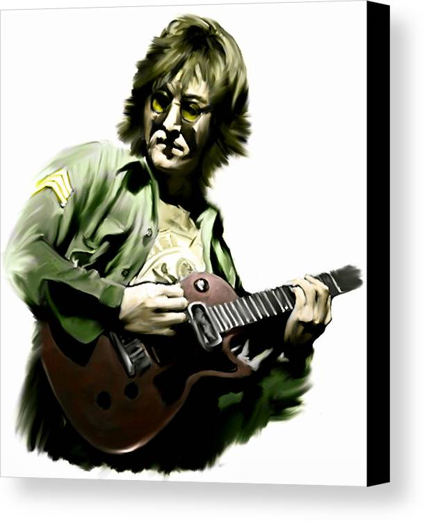 John Lennon Canvas Print featuring the painting Instant Karma John Lennon by Iconic Images Art Gallery David Pucciarelli