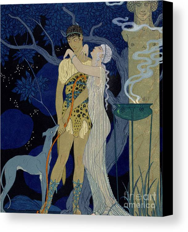Bow Canvas Print featuring the painting Venus And Adonis by Georges Barbier
