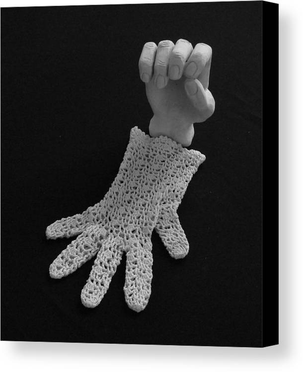 Sculpture Canvas Print featuring the sculpture Hand And Glove by Barbara St Jean