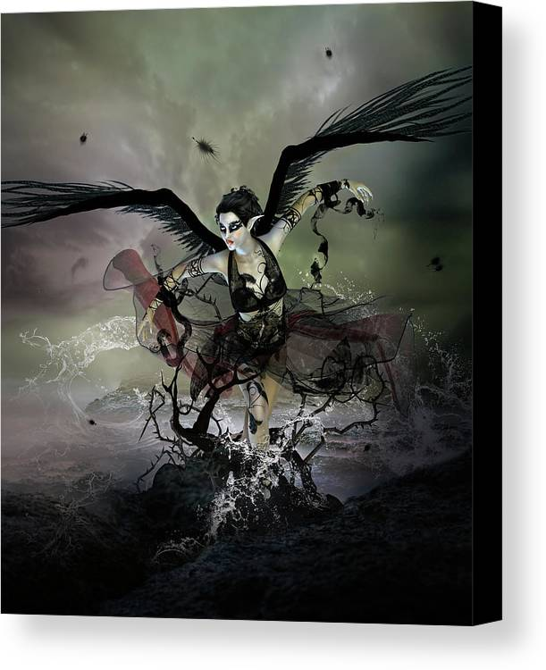 Swan Canvas Print featuring the digital art The Black Swan by Mary Hood