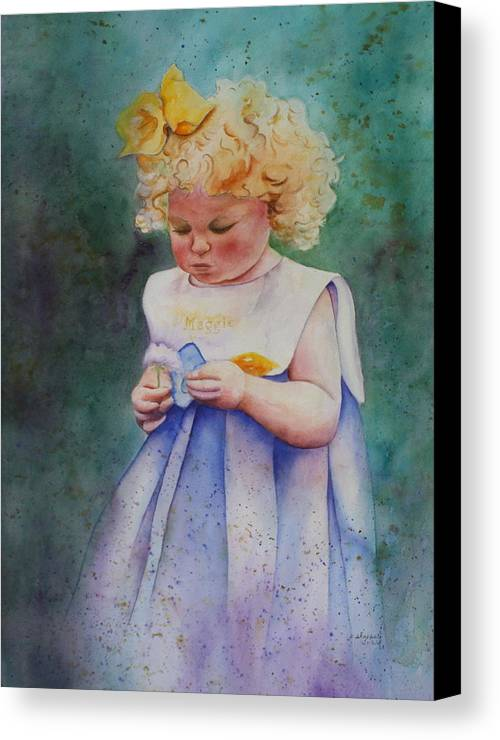 Child Canvas Print featuring the painting Maggie's Dandelion by Patsy Sharpe