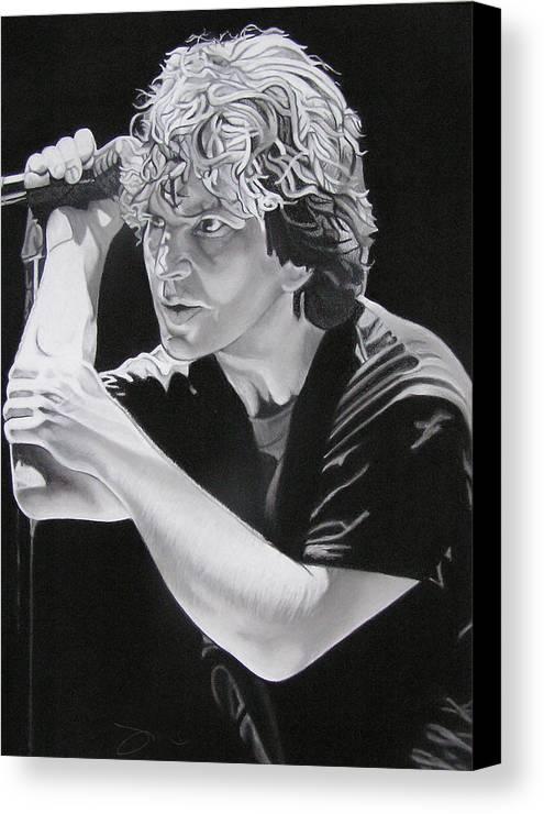 Eddie Vedder Canvas Print featuring the drawing Eddie Vedder Black And White by Joshua Morton