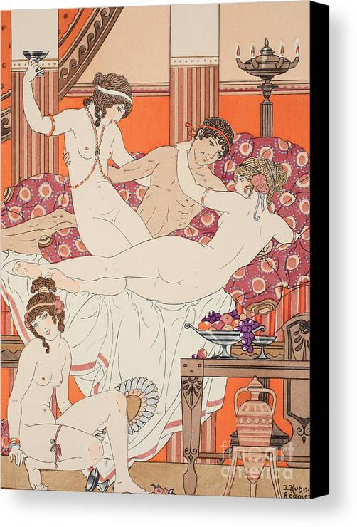 Ancient Greece Canvas Print featuring the painting Excess Of Wine And Women by Joseph Kuhn-Regnier