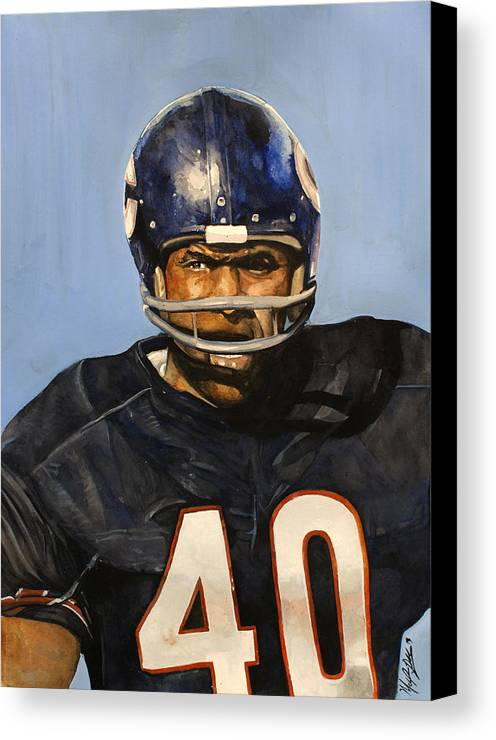 Gale Sayers Canvas Print featuring the painting Gale Sayers by Michael Pattison