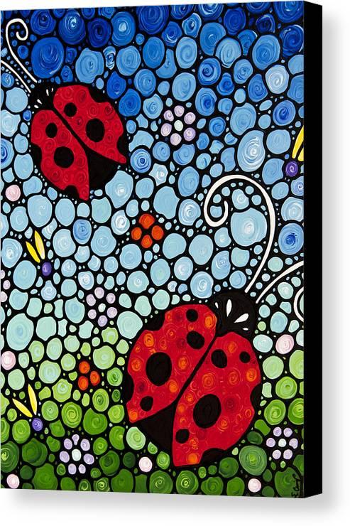 Ladybugs Canvas Print featuring the painting Joyous Ladies Ladybugs by Sharon Cummings