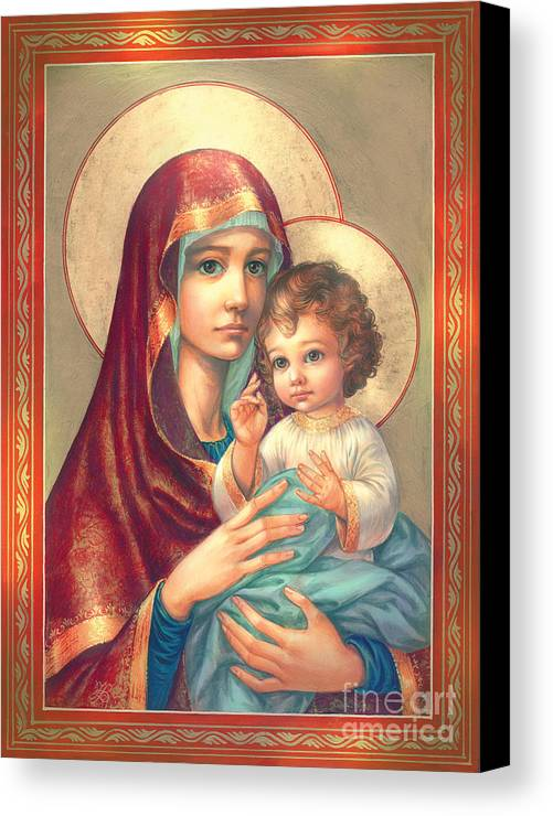 Mother Of God Canvas Print featuring the digital art Madonna And Sitting Baby Jesus by Zorina Baldescu