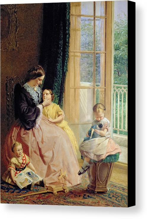 Family Group Canvas Print featuring the painting Mrs Hicks Mary Rosa And Elgar by George Elgar Hicks