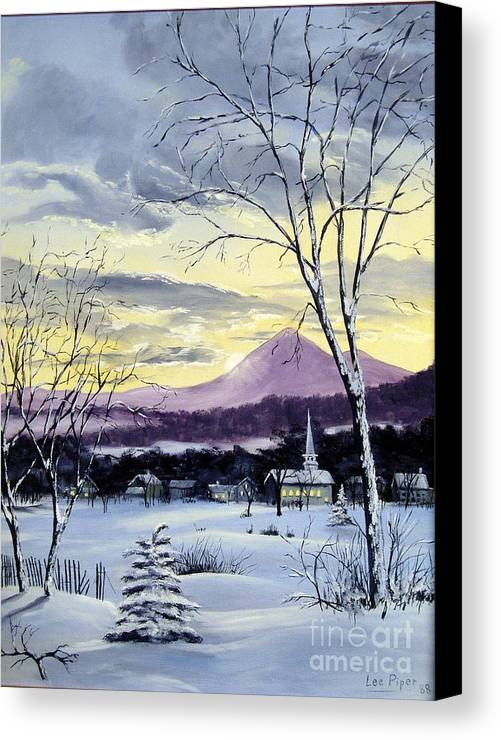 Maine Canvas Print featuring the painting Sunday In Winter by Lee Piper