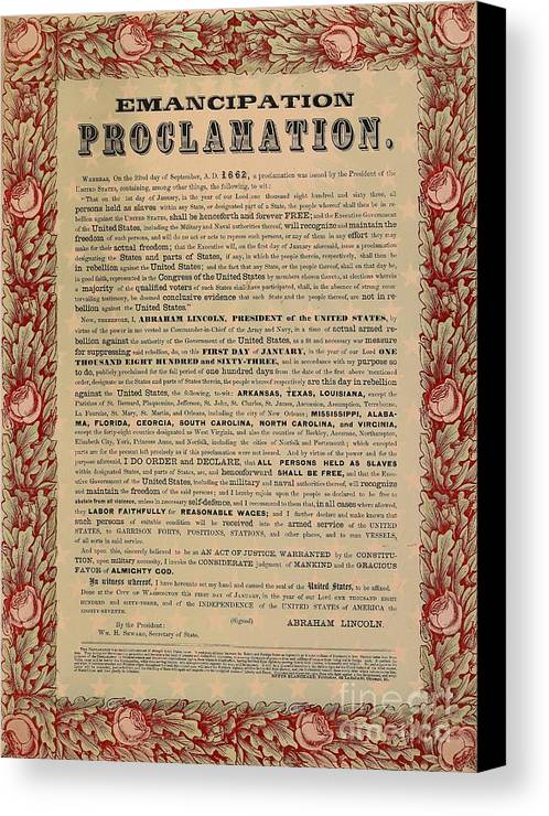 Civil War; Liberation; Freedom; Document; Proclamation Canvas Print featuring the drawing The Emancipation Proclamation by American School