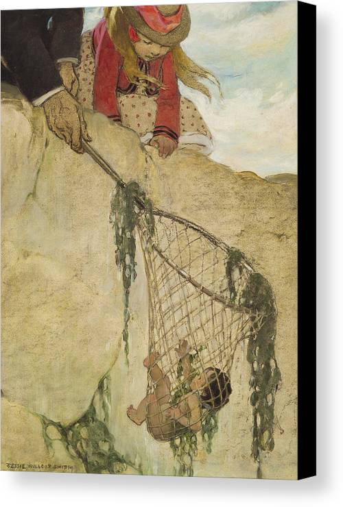 Saved Canvas Print featuring the painting The Rescue Circa 1916 by Aged Pixel