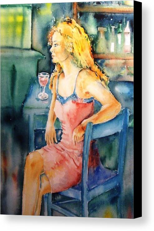 Woman Canvas Print featuring the painting Woman Waiting by Trudi Doyle