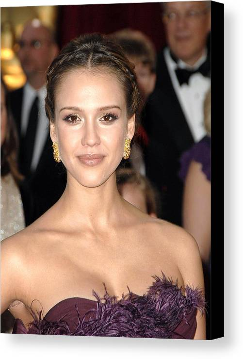 Part 2 - Red Carpet - 80th Annual Academy Awards Oscars Ceremony Canvas Print featuring the photograph Jessica Alba Wearing Cartier Earrings by Everett