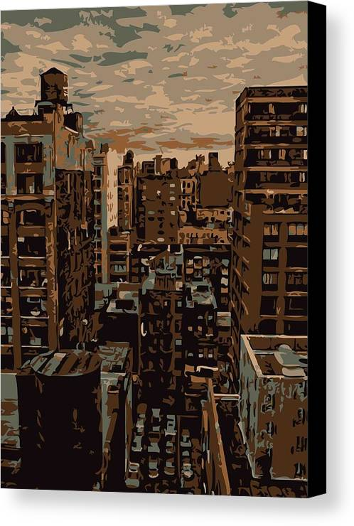 New York City Rooftop Canvas Print featuring the photograph Rooftop Color 6 by Scott Kelley