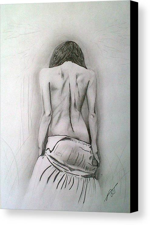 Nude Canvas Print featuring the drawing Skirt II by Paula Steffensen